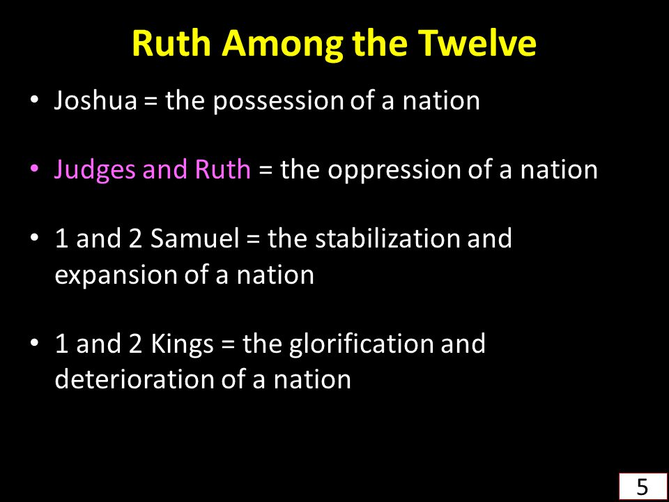Ruth Among the Twelve Joshua = the possession of a nation