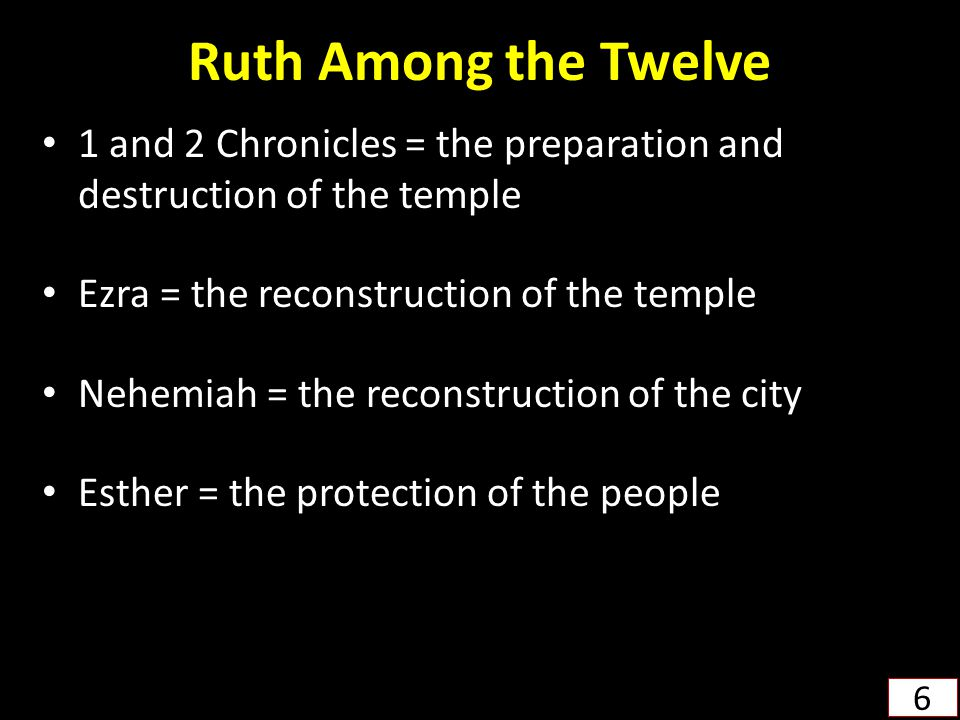 Ruth Among the Twelve 1 and 2 Chronicles = the preparation and destruction of the temple. Ezra = the reconstruction of the temple.