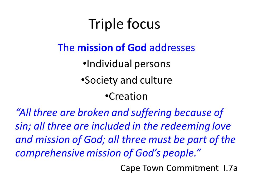The mission of God addresses