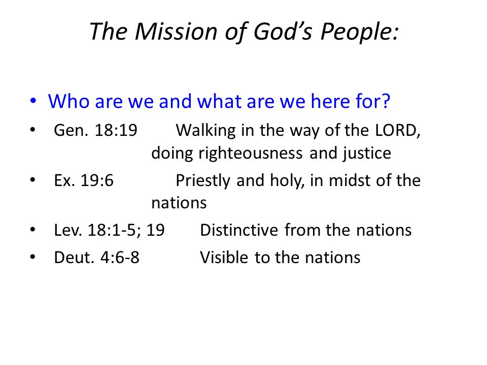 The Mission of God's People: