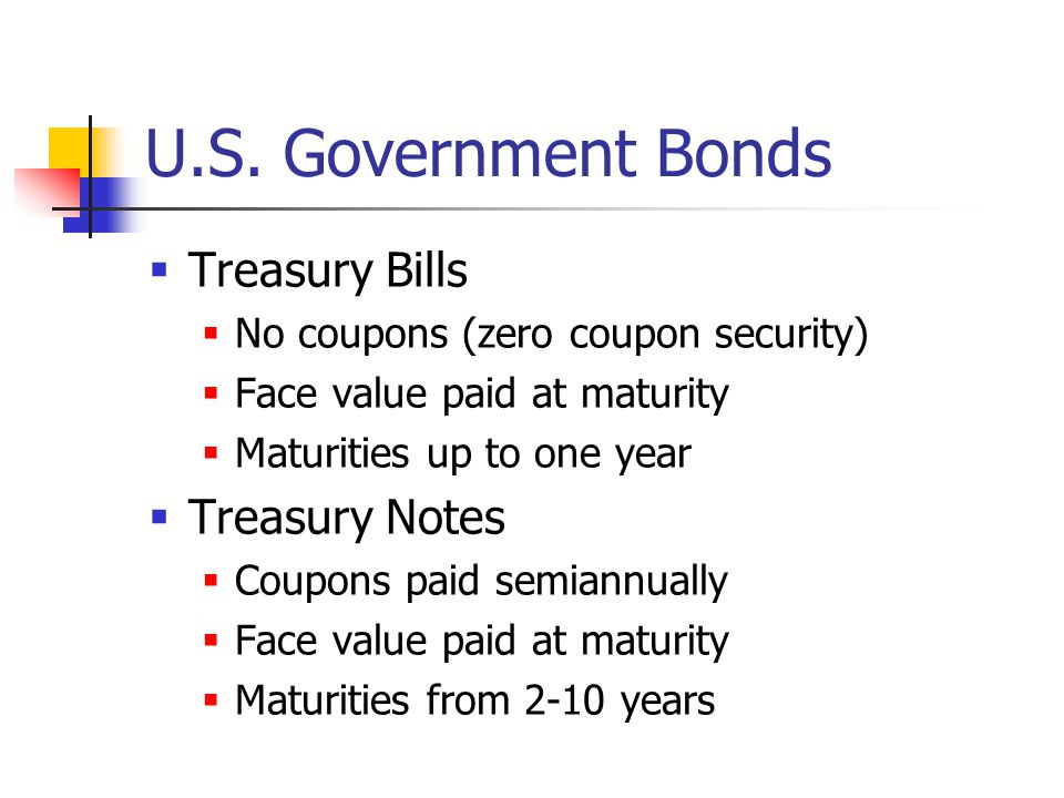 U.S. Government Bonds Treasury Bills Treasury Notes