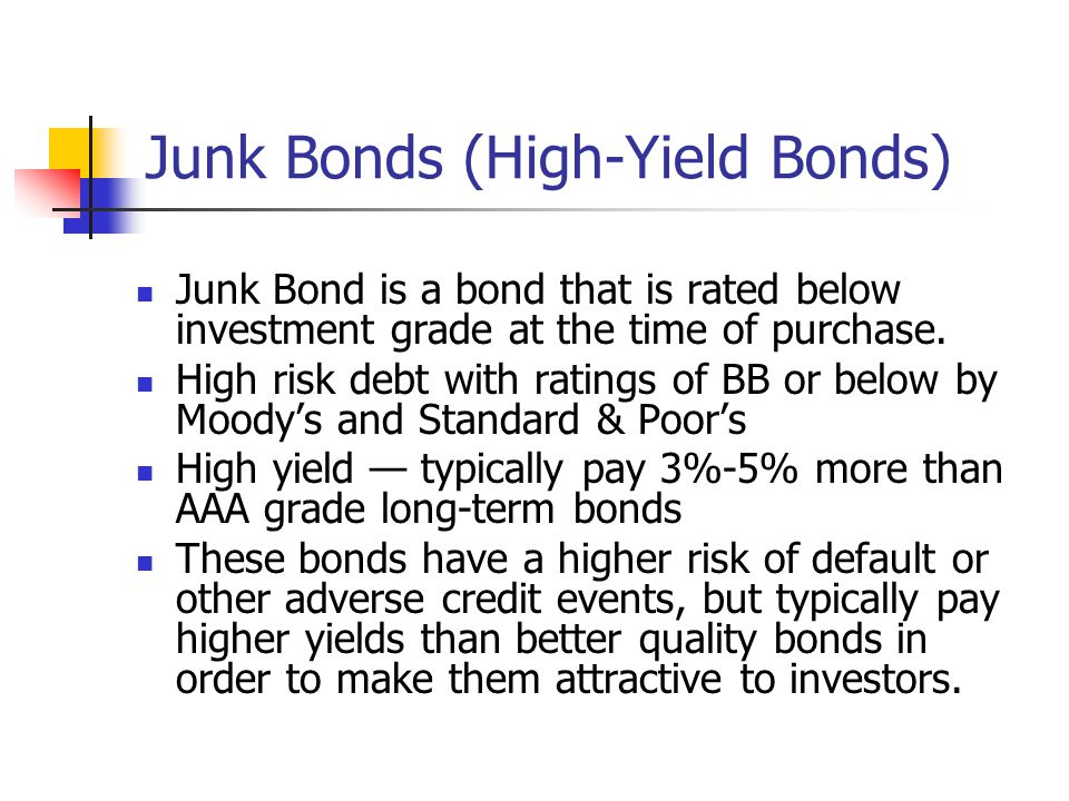 Junk Bonds (High-Yield Bonds)