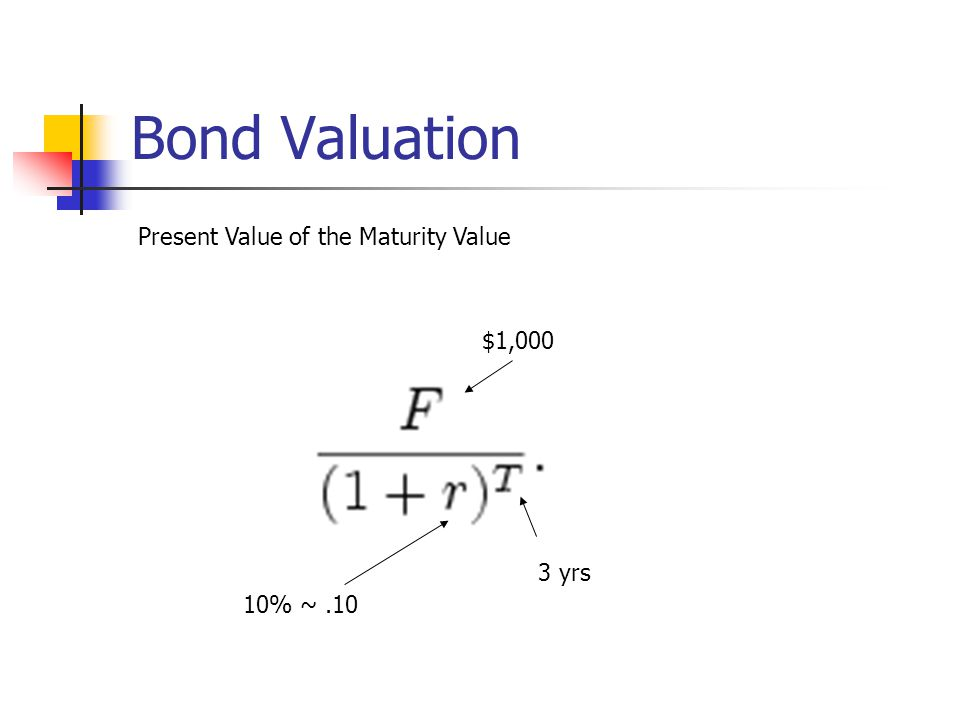 Bond Valuation Present Value of the Maturity Value $1,000 3 yrs