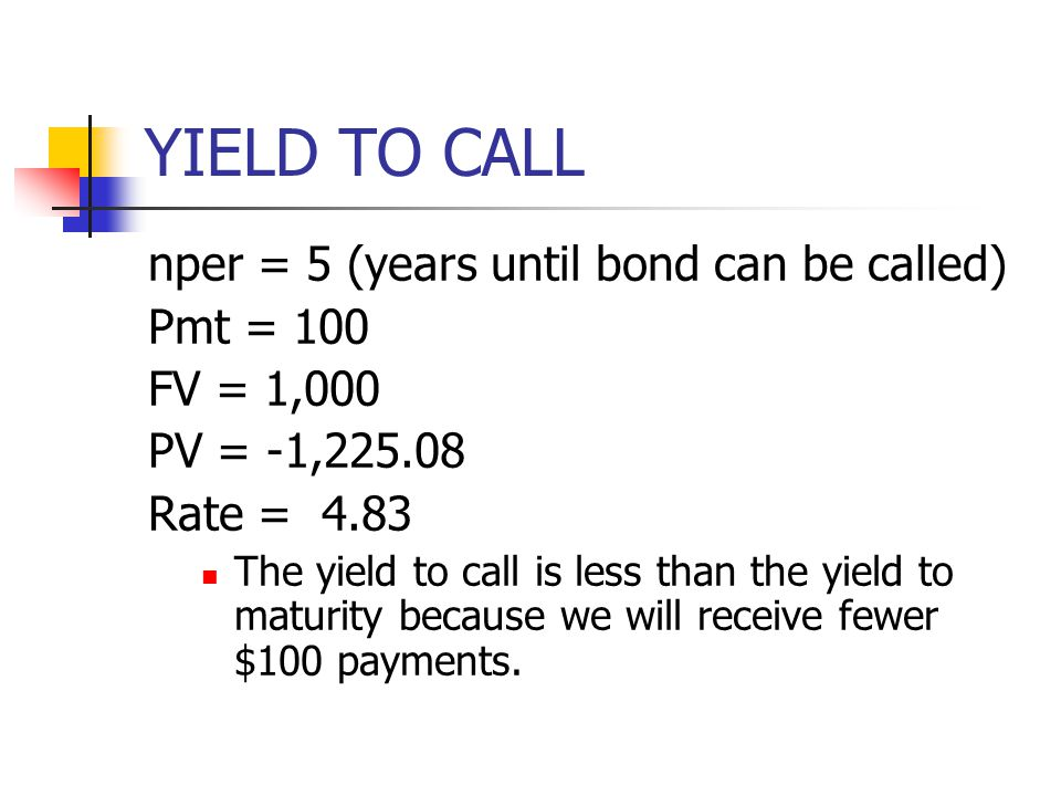 YIELD TO CALL nper = 5 (years until bond can be called) Pmt = 100