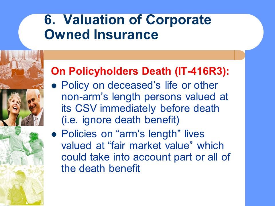6. Valuation of Corporate Owned Insurance