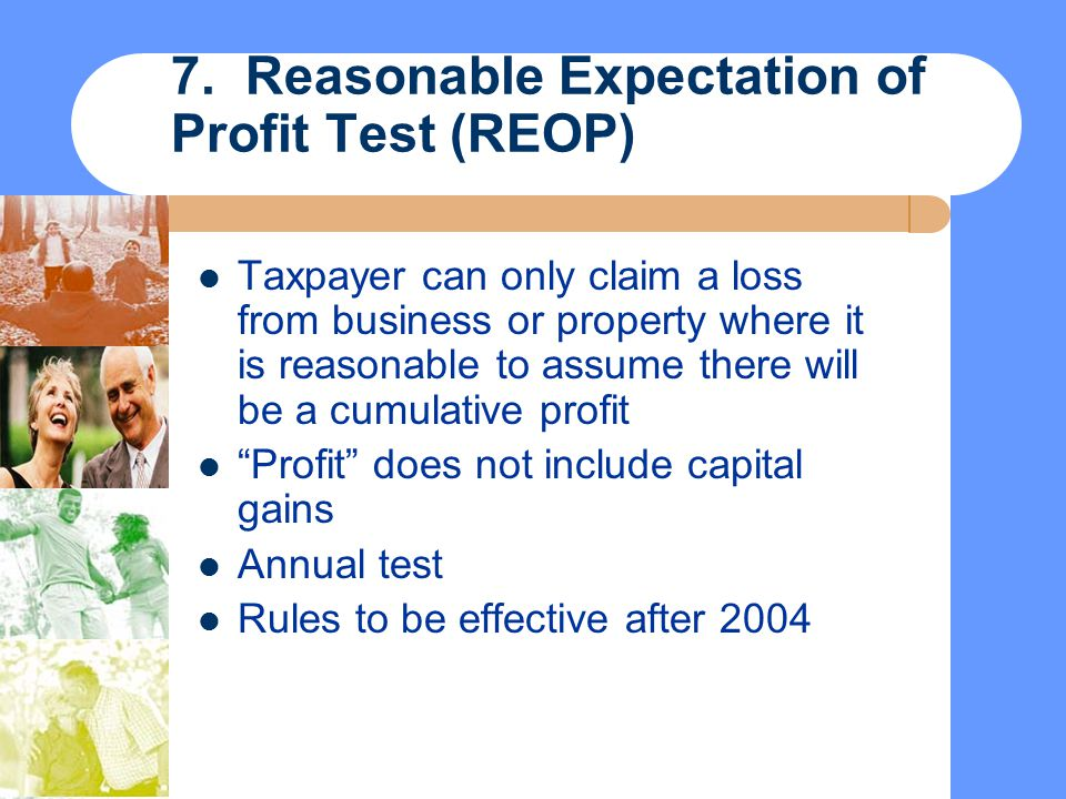 7. Reasonable Expectation of Profit Test (REOP)