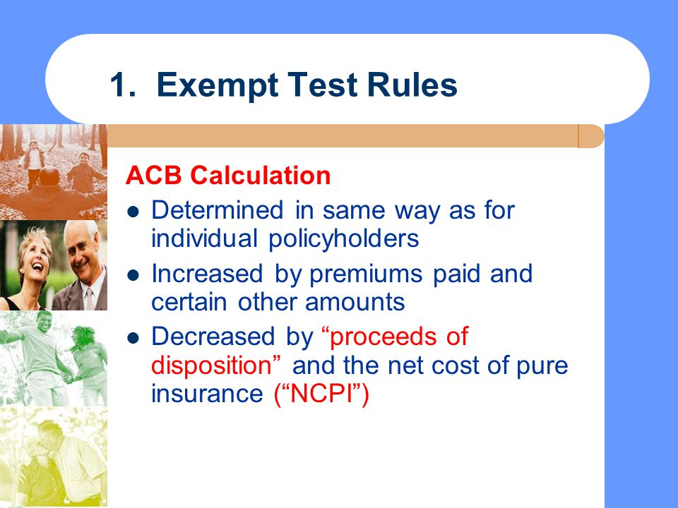 1. Exempt Test Rules ACB Calculation