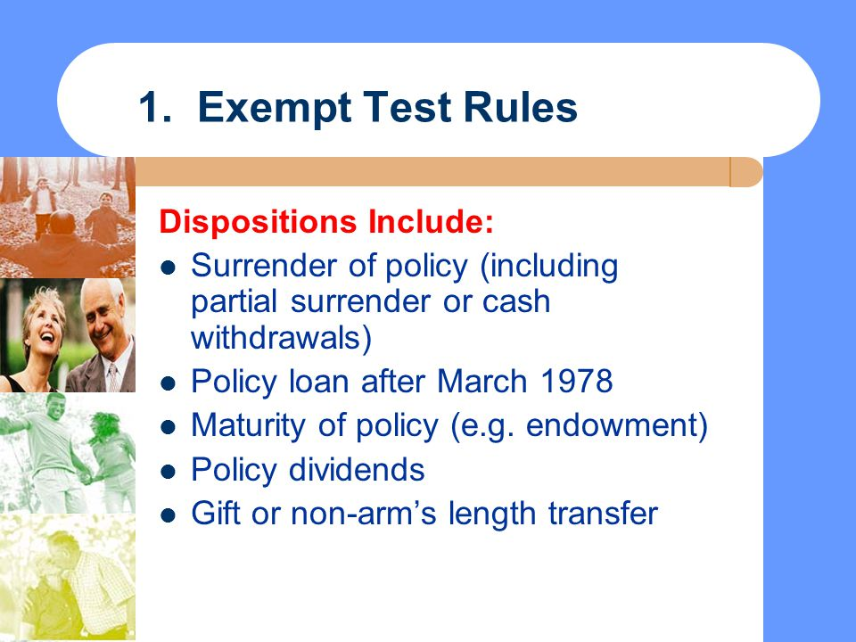 1. Exempt Test Rules Dispositions Include: