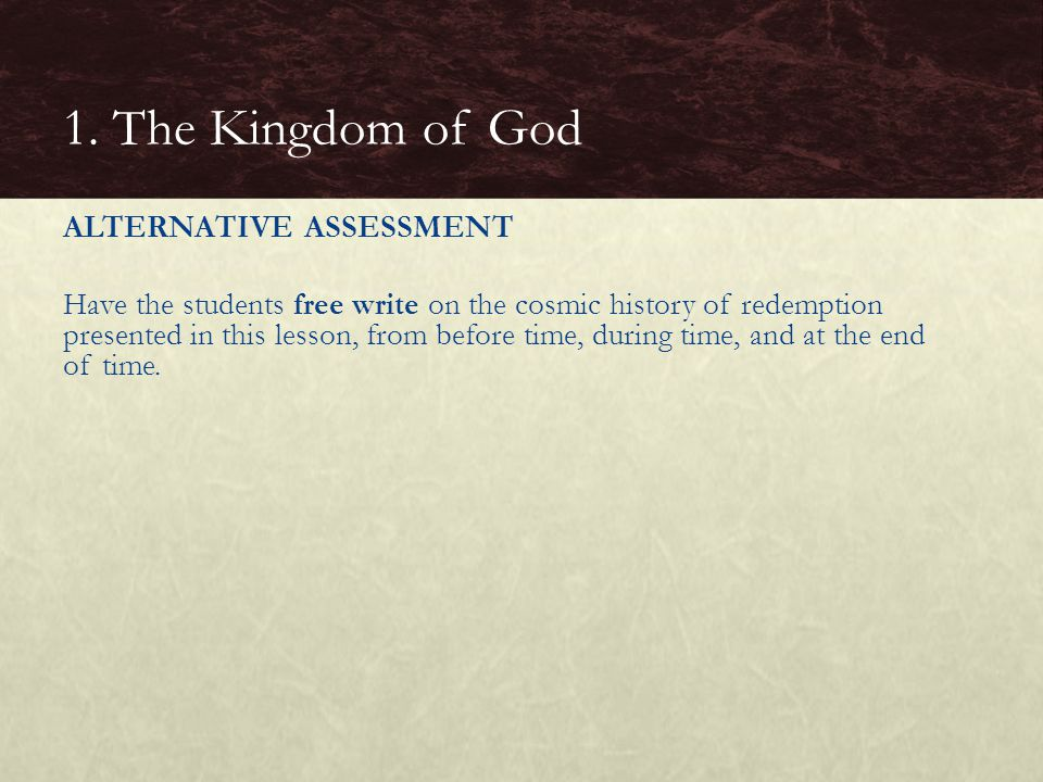 1. The Kingdom of God
