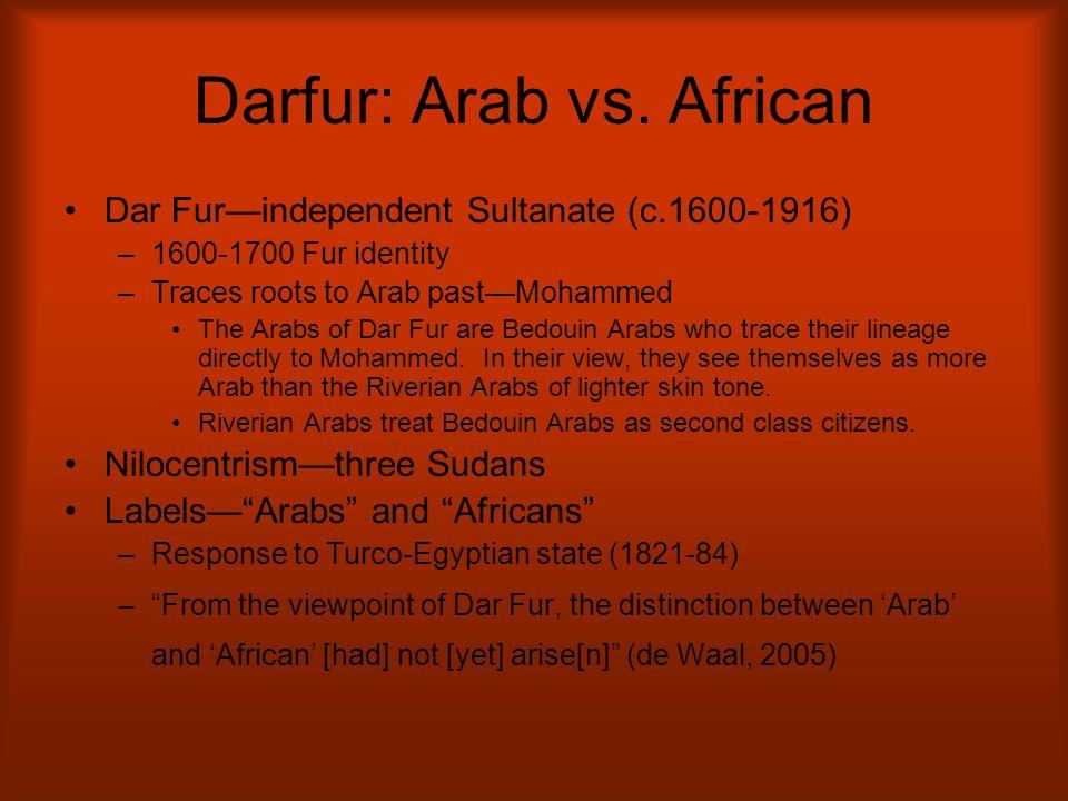 Darfur: Arab vs. African