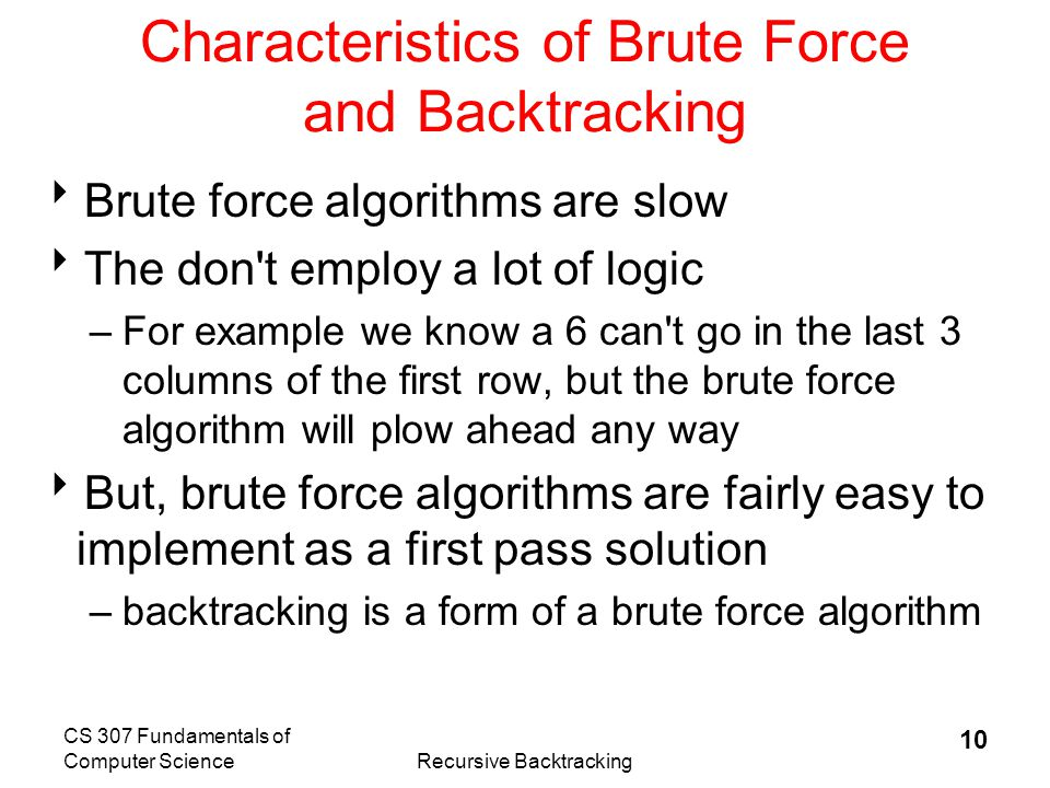 Characteristics of Brute Force and Backtracking