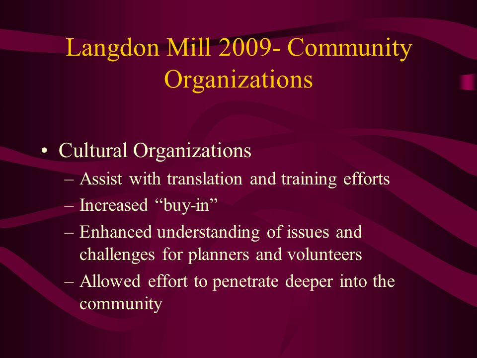 Langdon Mill Community Organizations