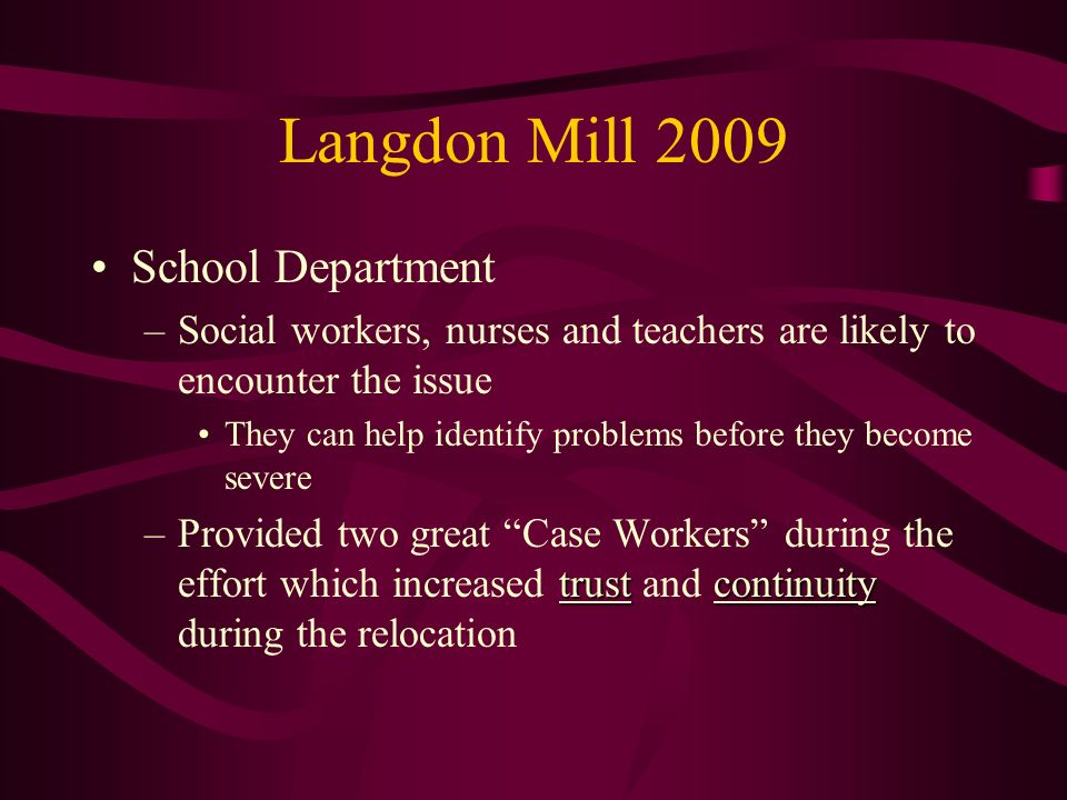 Langdon Mill 2009 School Department