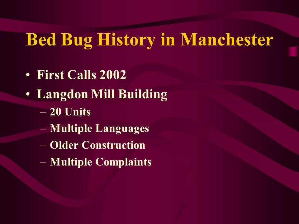 Bed Bug History in Manchester