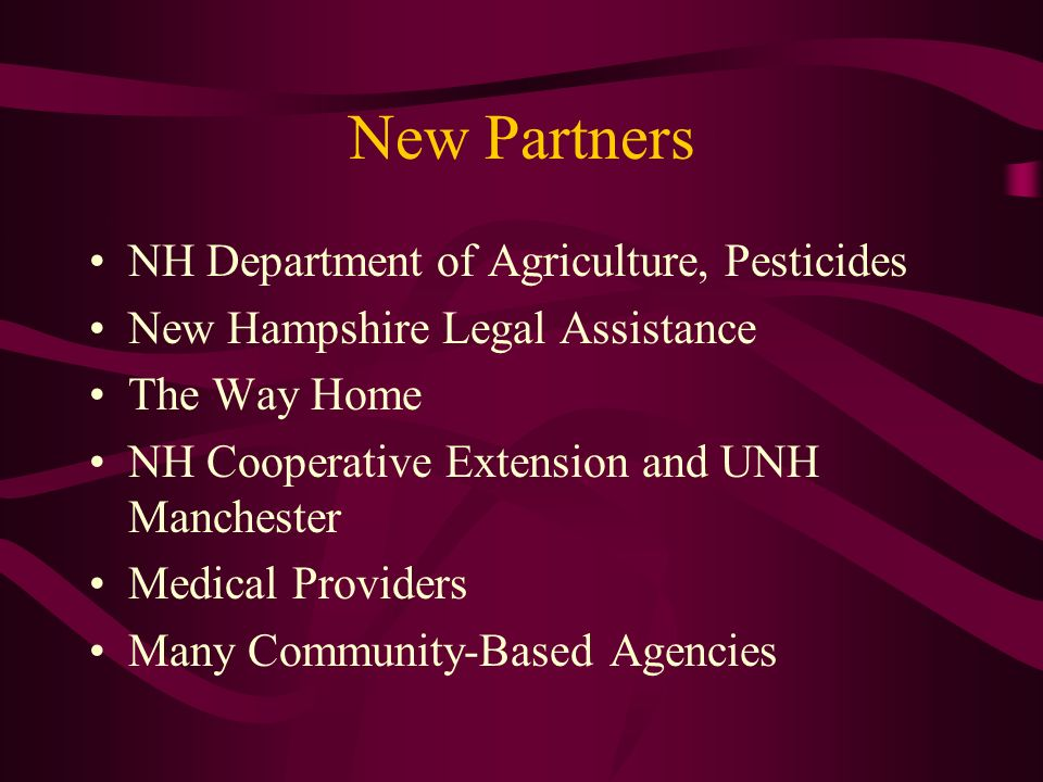 New Partners NH Department of Agriculture, Pesticides