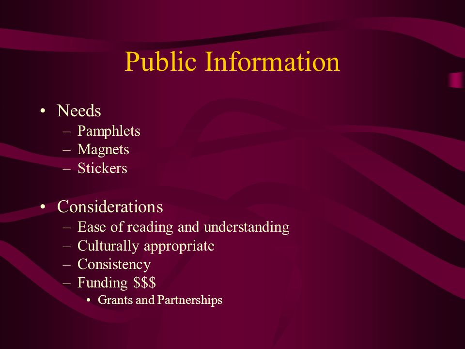 Public Information Needs Considerations Pamphlets Magnets Stickers