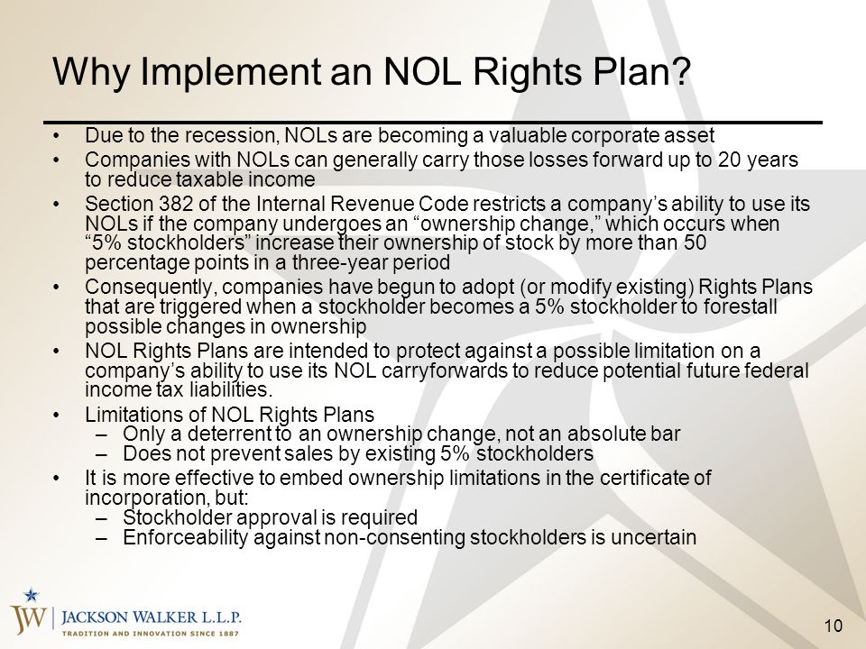 Why Implement an NOL Rights Plan