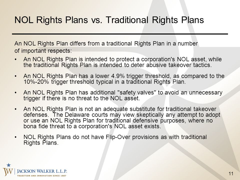 NOL Rights Plans vs. Traditional Rights Plans