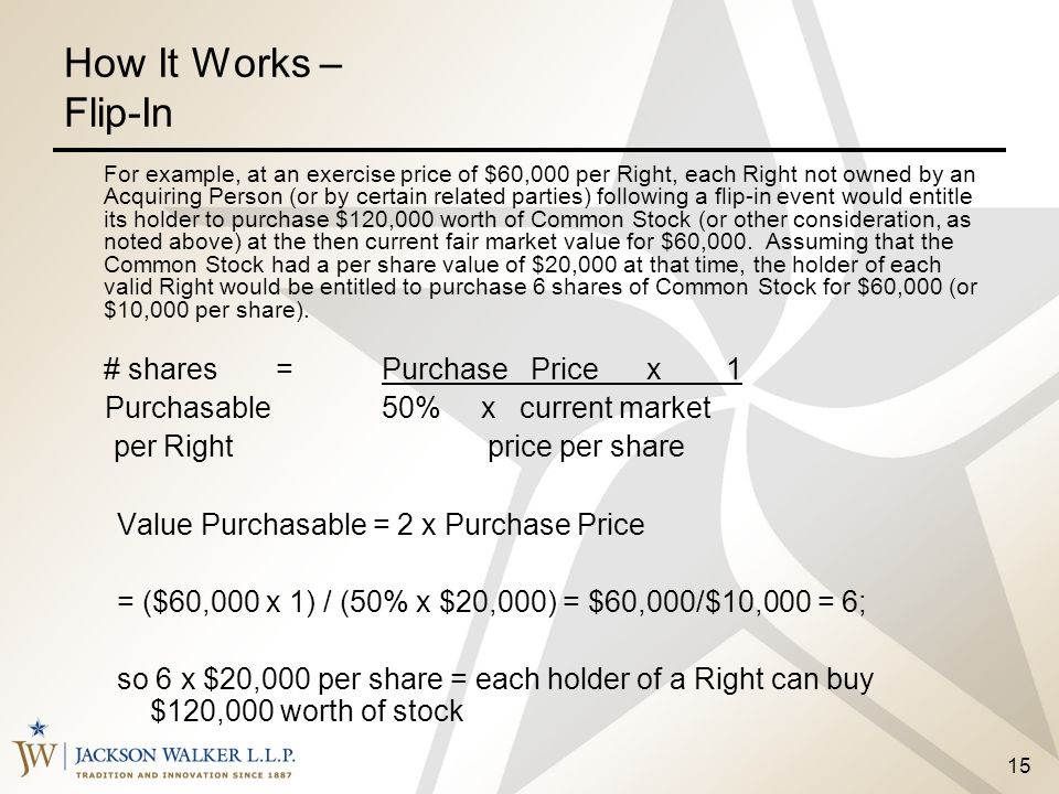 How It Works – Flip-In # shares = Purchase Price x 1