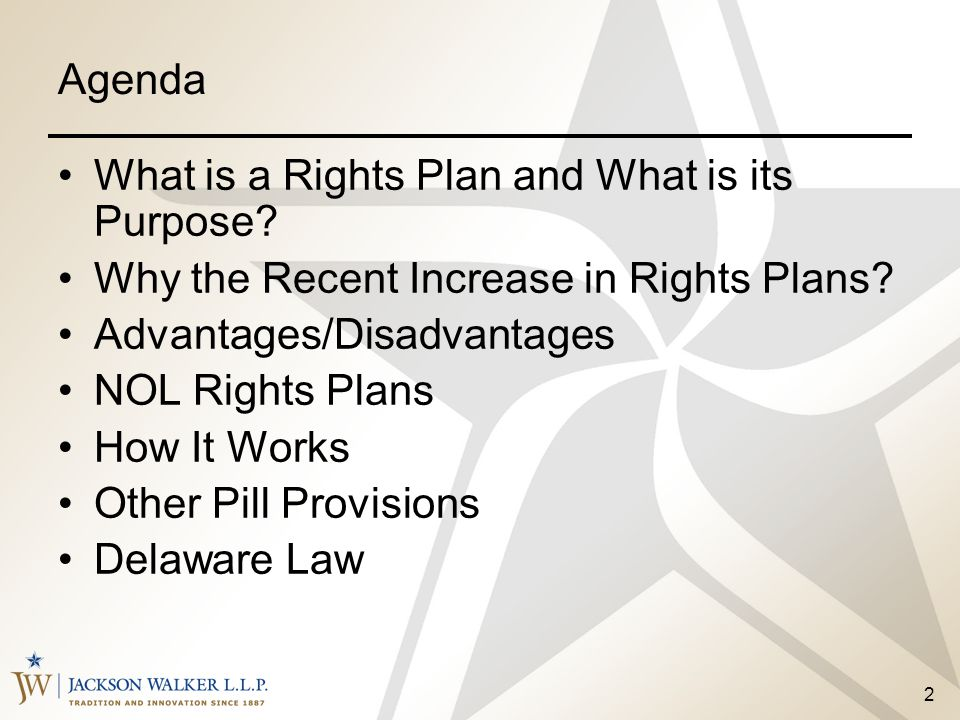 Agenda What is a Rights Plan and What is its Purpose Why the Recent Increase in Rights Plans Advantages/Disadvantages.
