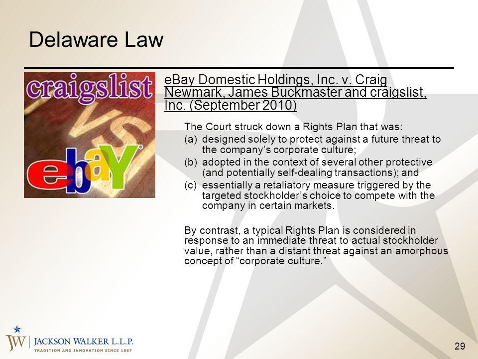 Delaware Law eBay Domestic Holdings, Inc. v. Craig Newmark, James Buckmaster and craigslist, Inc. (September 2010)
