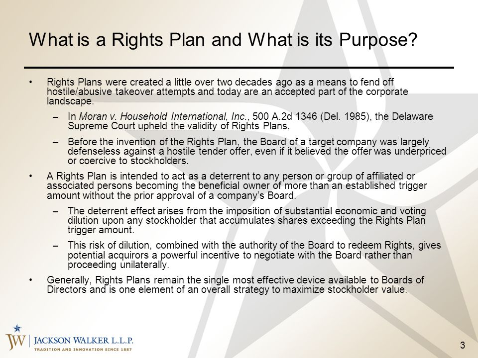 What is a Rights Plan and What is its Purpose