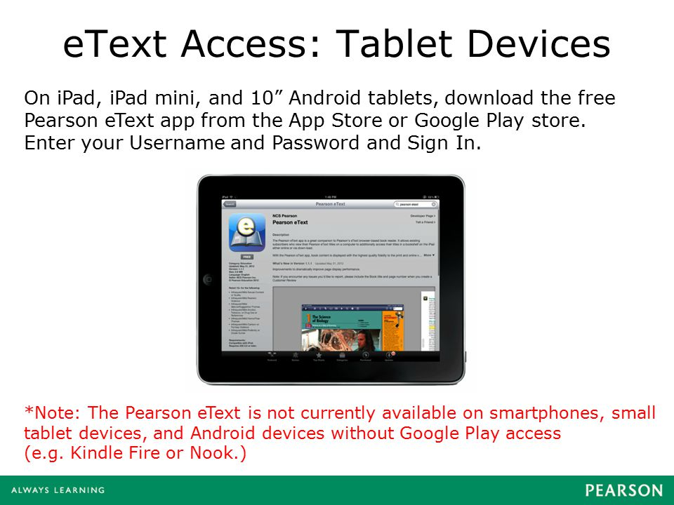 eText Access: Tablet Devices