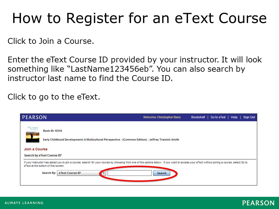 How to Register for an eText Course