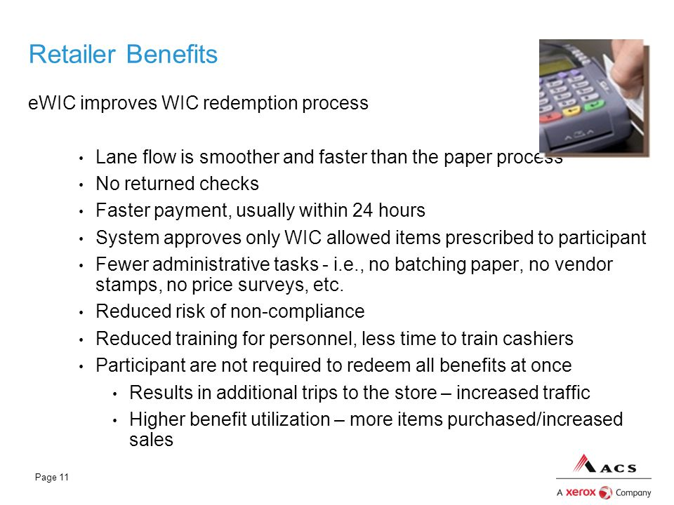 Retailer Benefits eWIC improves WIC redemption process