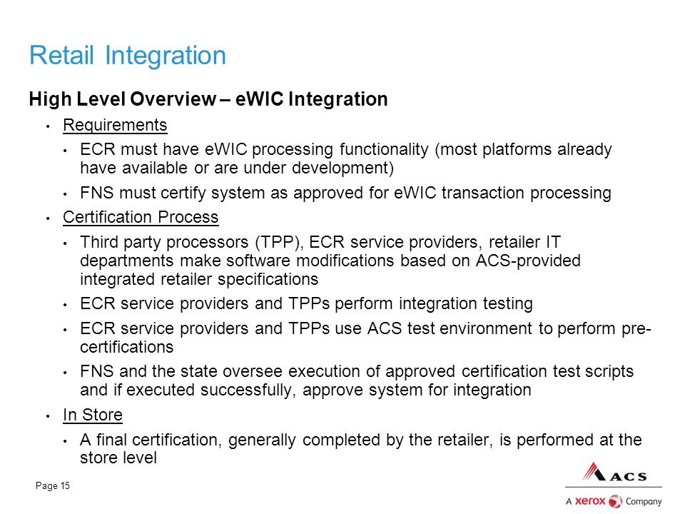 Retail Integration High Level Overview – eWIC Integration Requirements