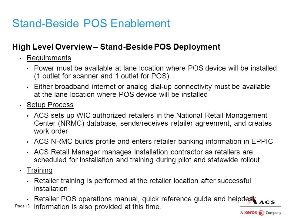 Stand-Beside POS Enablement