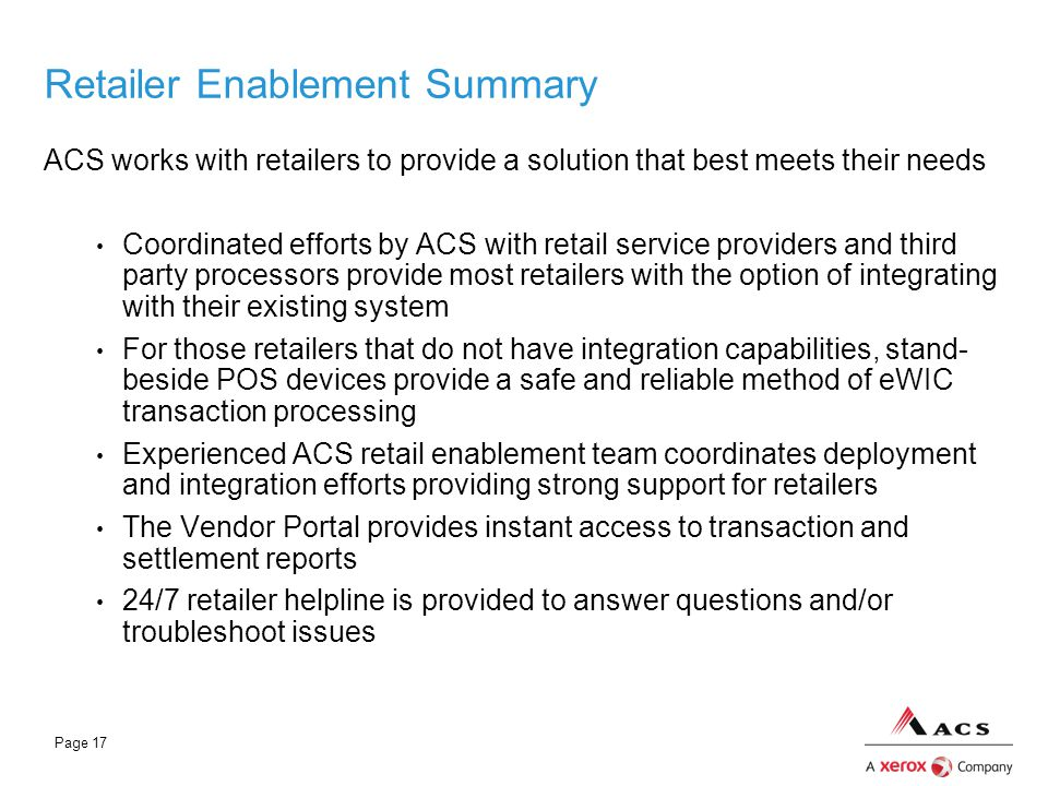 Retailer Enablement Summary