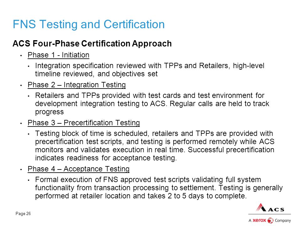 FNS Testing and Certification