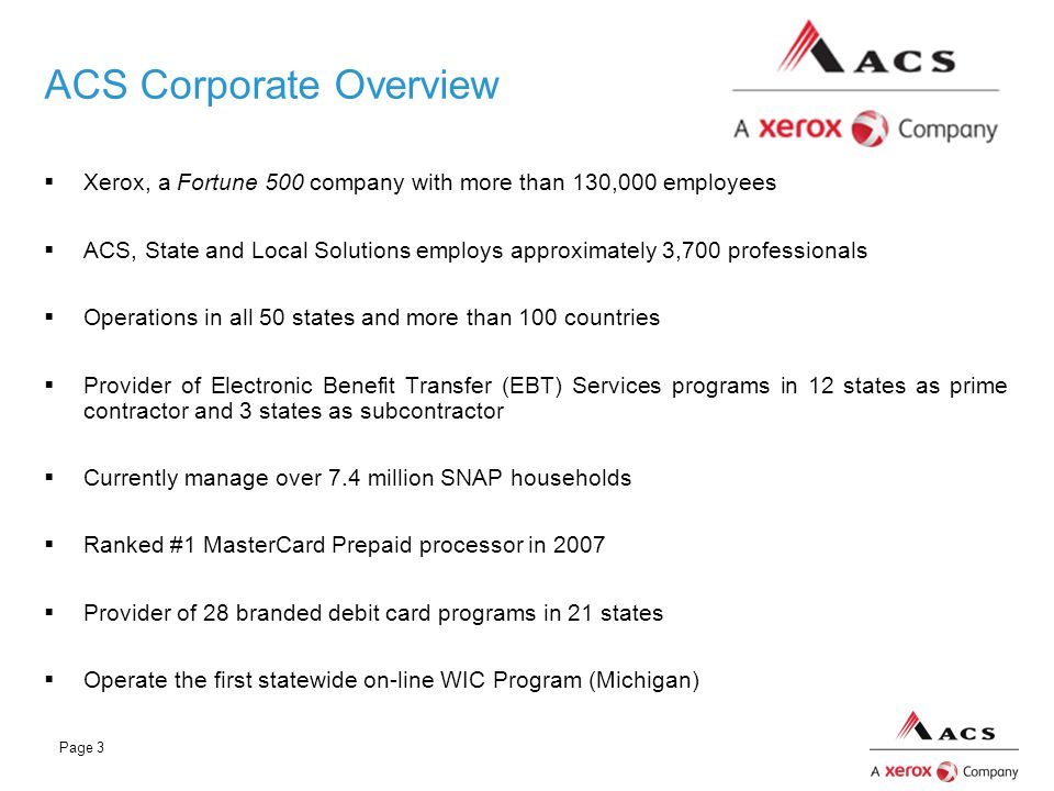 ACS Corporate Overview