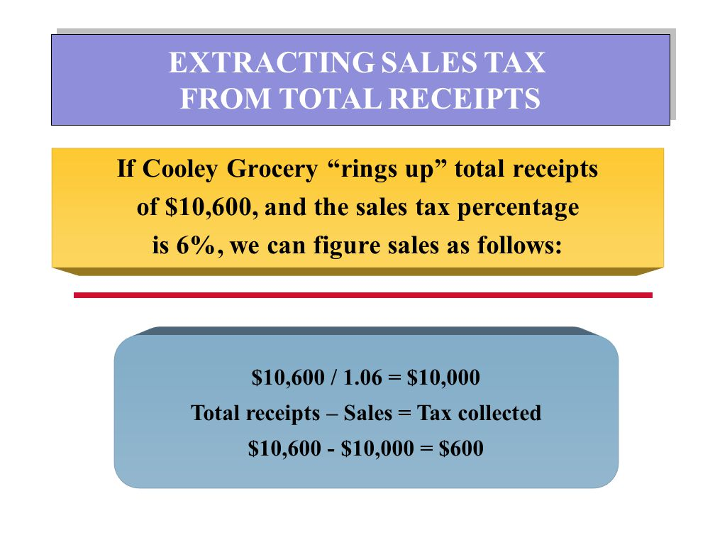 EXTRACTING SALES TAX FROM TOTAL RECEIPTS