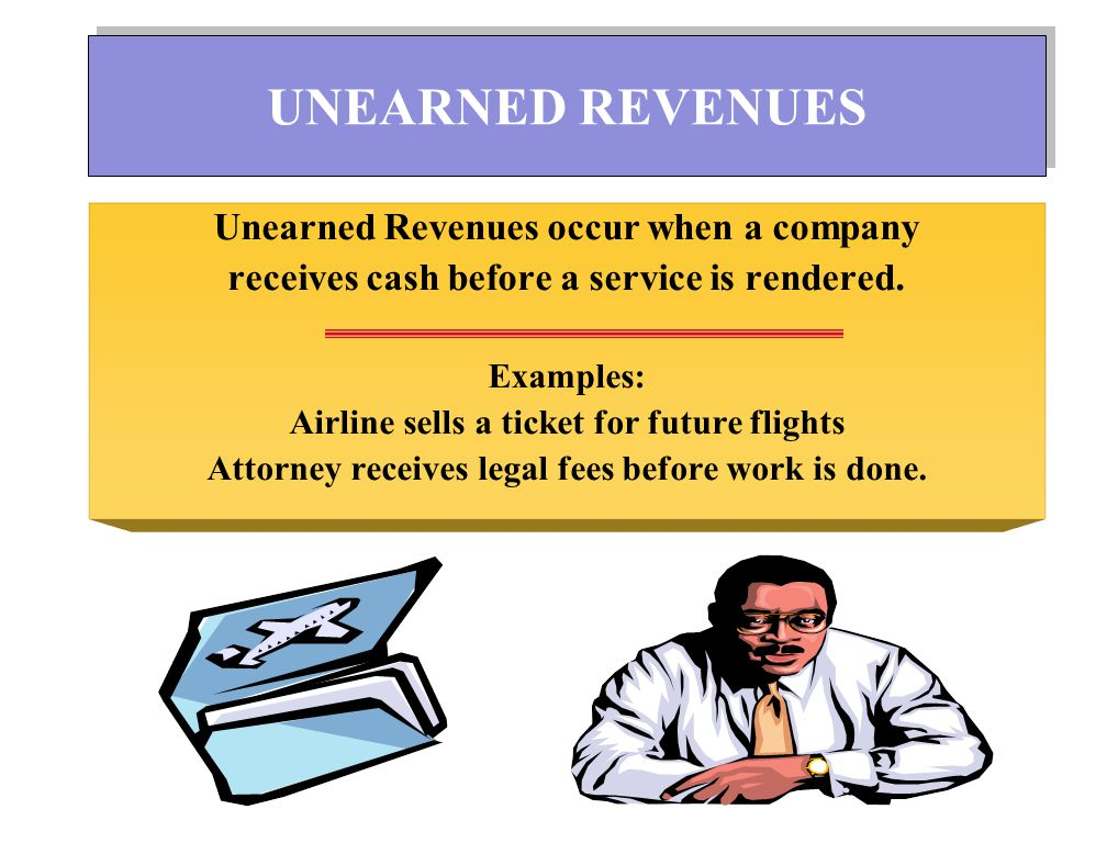 UNEARNED REVENUES Unearned Revenues occur when a company