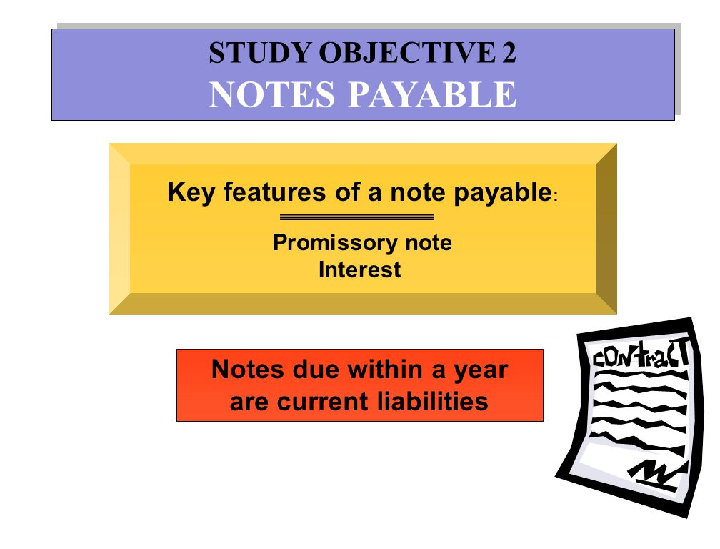 Key features of a note payable: are current liabilities