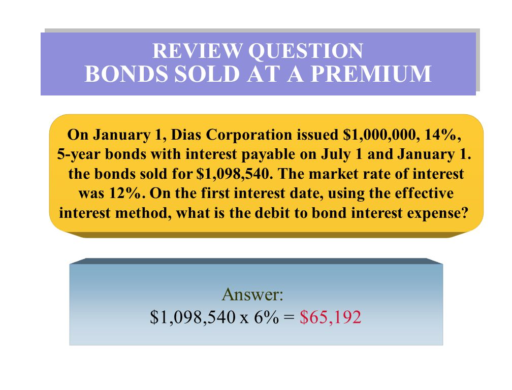 REVIEW QUESTION BONDS SOLD AT A PREMIUM