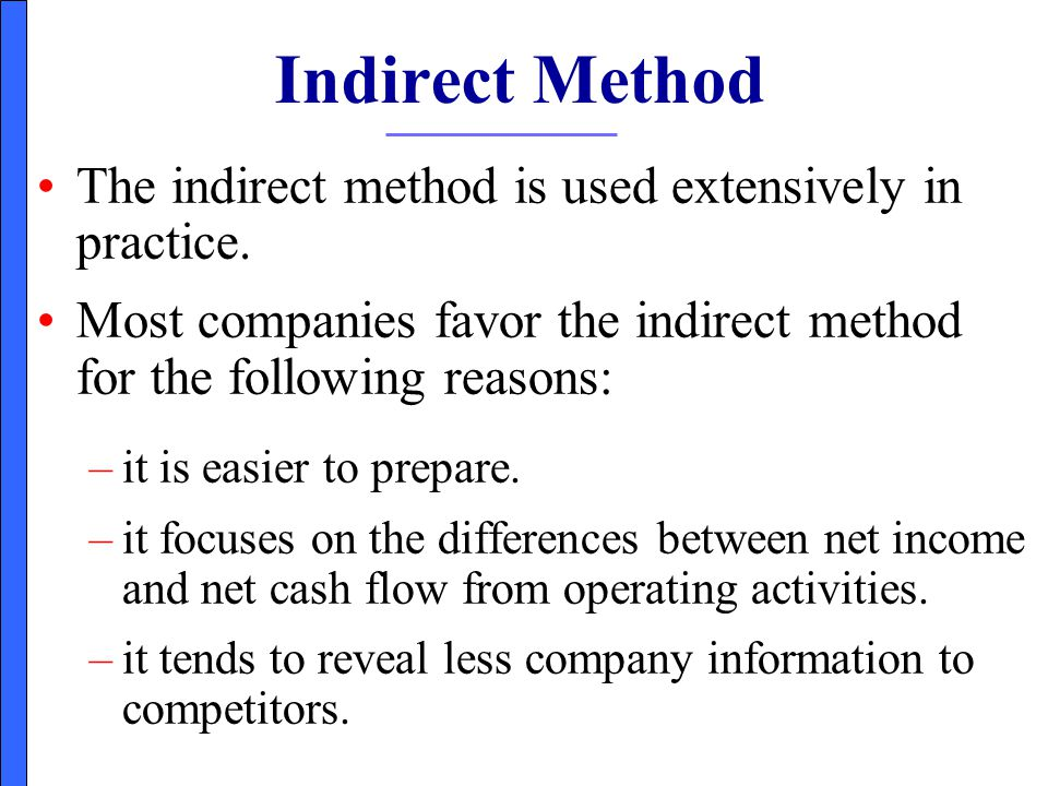 Indirect Method The indirect method is used extensively in practice.