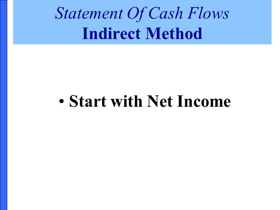 Statement Of Cash Flows Indirect Method