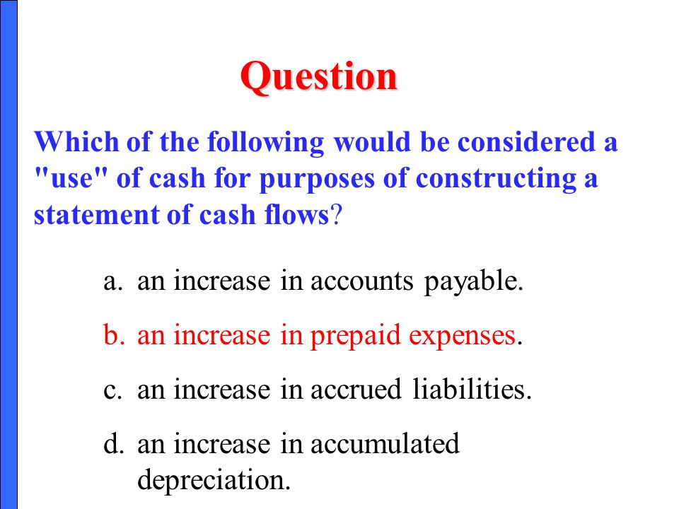 Question Which of the following would be considered a use of cash for purposes of constructing a statement of cash flows
