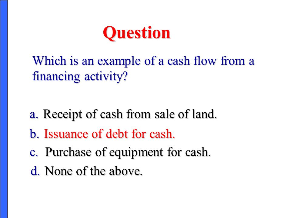 Question Which is an example of a cash flow from a financing activity