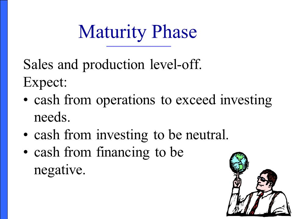Maturity Phase Sales and production level-off. Expect: