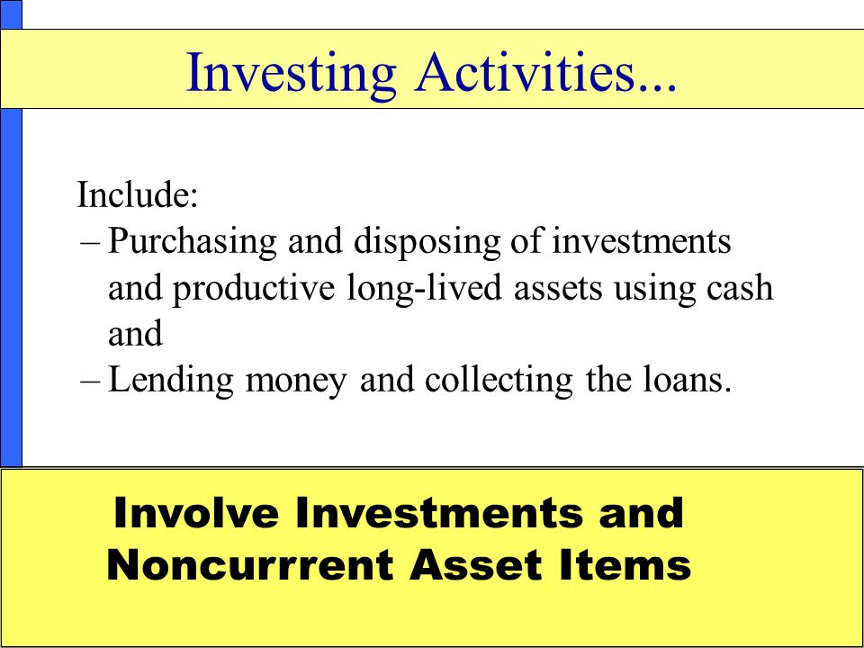 Involve Investments and Noncurrrent Asset Items