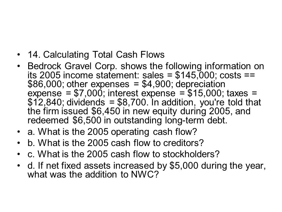 14. Calculating Total Cash Flows