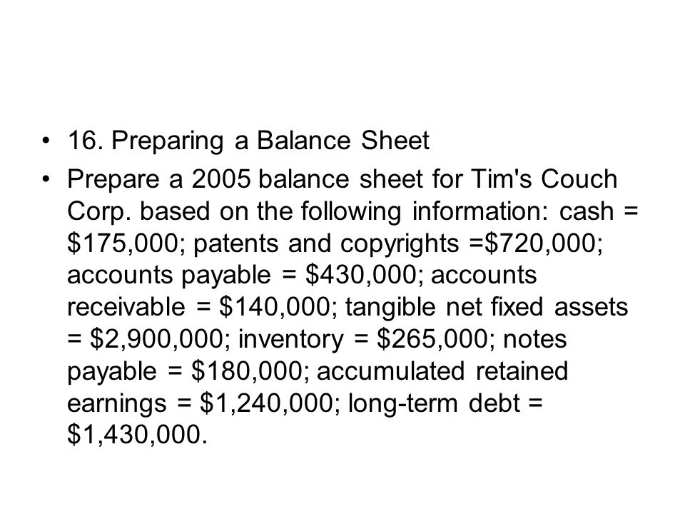 16. Preparing a Balance Sheet