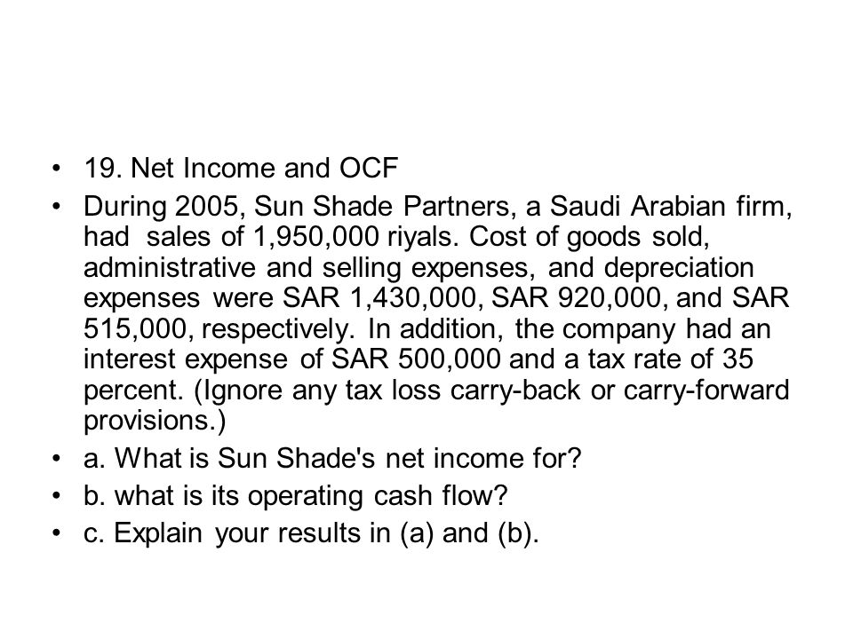 19. Net Income and OCF