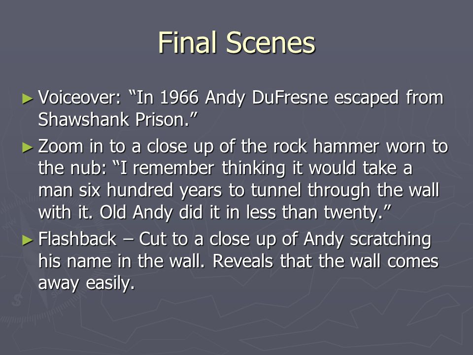 Final Scenes Voiceover: In 1966 Andy DuFresne escaped from Shawshank Prison.