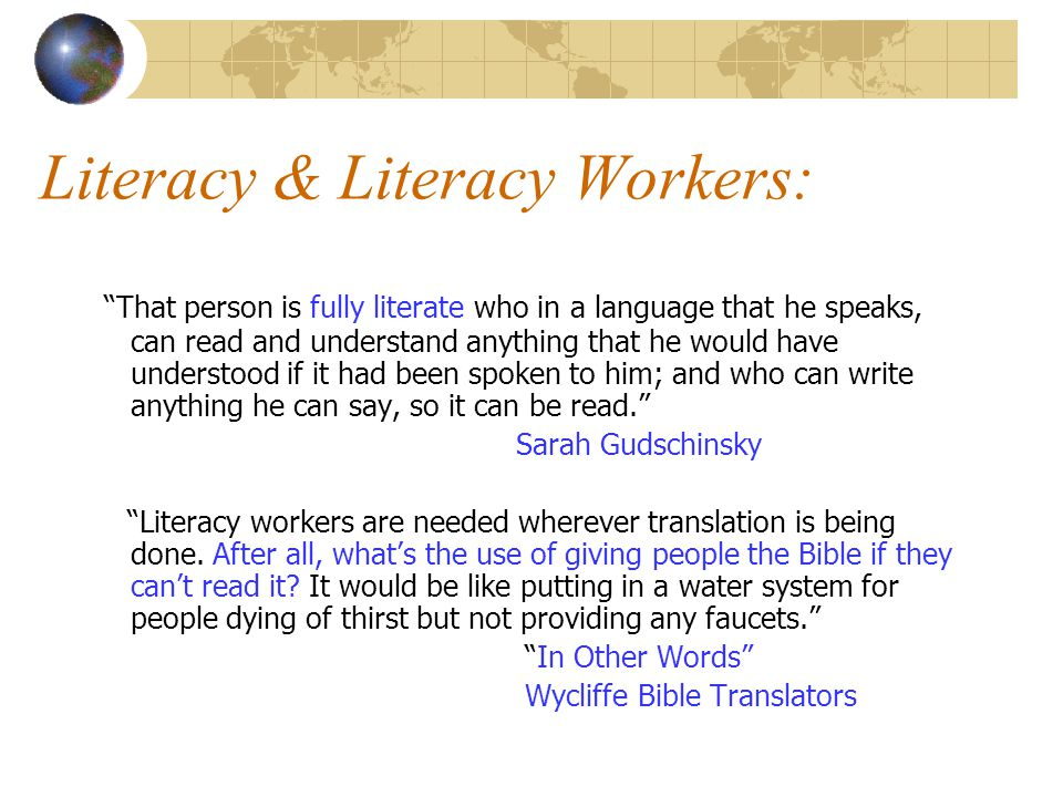 Literacy & Literacy Workers: