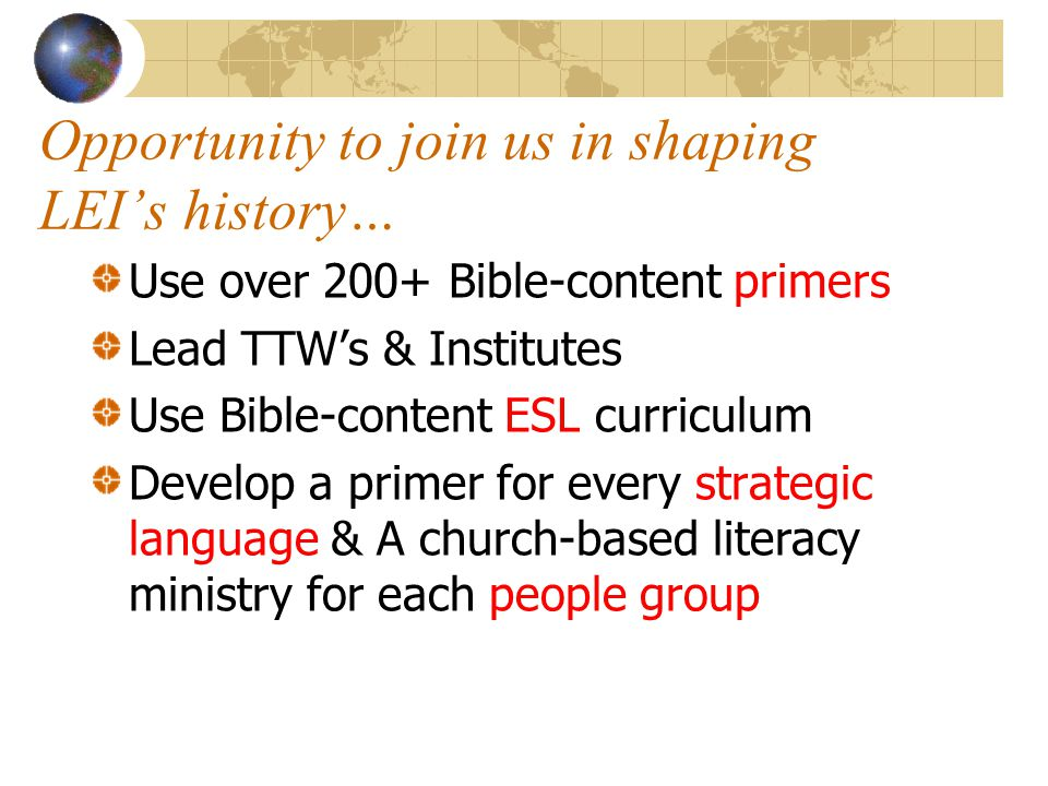 Opportunity to join us in shaping LEI's history…